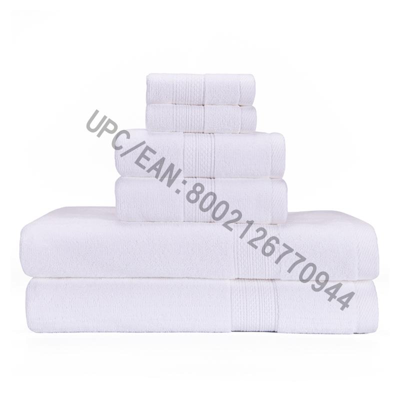 JMD TEXTILE badrumshanddukssats, inbyggda handdukar i bomull, uppsättning av 6,2 tvättduk, 2 handdukar, 2 badlakan, kök, pool, hushåll, hållbar, absorberande, bekväm, extra stor handduk (vit, 6)