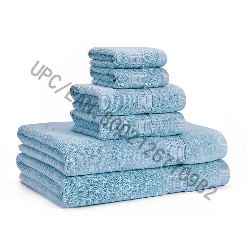 Badrumshanddukar Satsavstånd, Kombinerade bomullshanddukar Uppsättning av 6,2 tvättduk, 2 handdukar, 2 handdukar, handdukar Pool Hushållshanddukar Hållbart absorberande Bekväma handdukar Extra tjocka mjuka (ljusblå, 6)