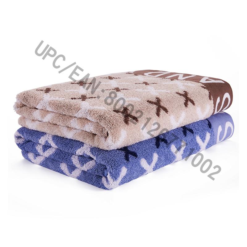 JMD TEXTILE Badrumshanddukset, 4 delar brittisk stil Jacquardhandduk, stora handdukar 100% bomull, lämplig för pool, gym, hotell, resor, tillbehör för college-sovsalar, brun och blå (blå-röd, 4)