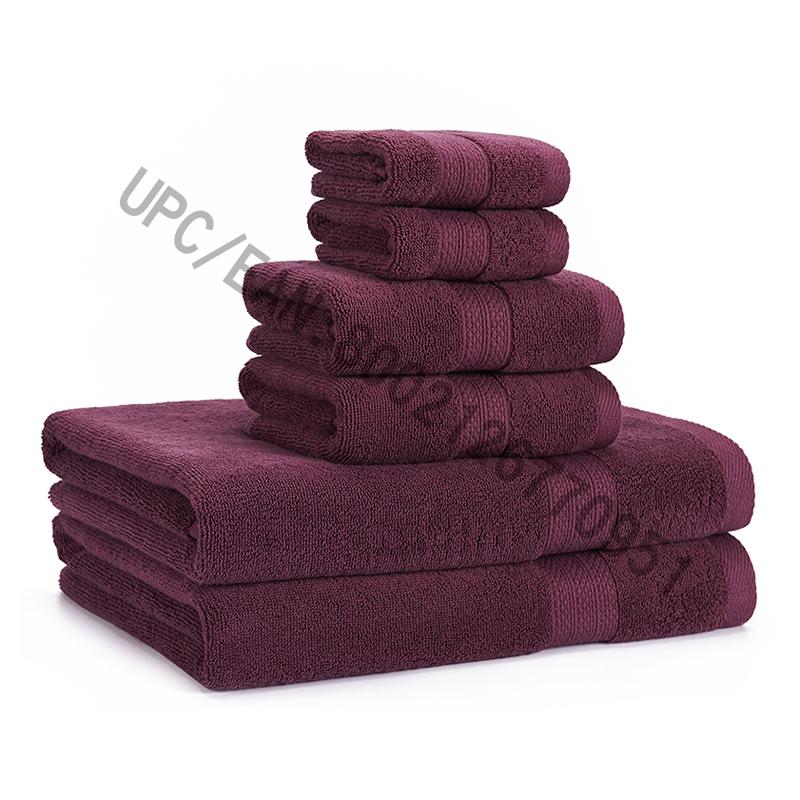 JMD TEXTILE Badrumshanddukssats, Handdukar Uppsättning av 6 bomullsdelar i bomull, 2 tvättduk, 2 handdukar, 2 handdukar, handdukar Pool Hushållshanddukar Hållbara handdukar Bekväma absorberande lila badrumshanddukset