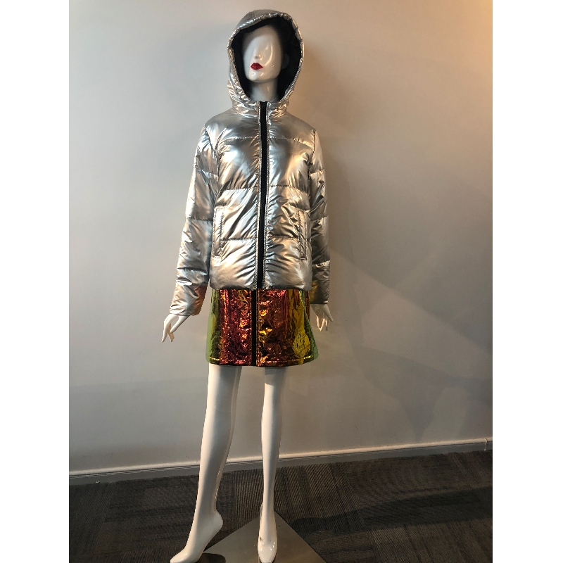 LADIES 'SILVER METALLIC PUFFER COAT RLWPC0049