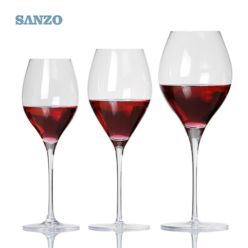 SANZO Black Stem Lismore Balloon Wine Glass Handgjorda blyfria kristallgreverade glasögon Tjocka glasögon