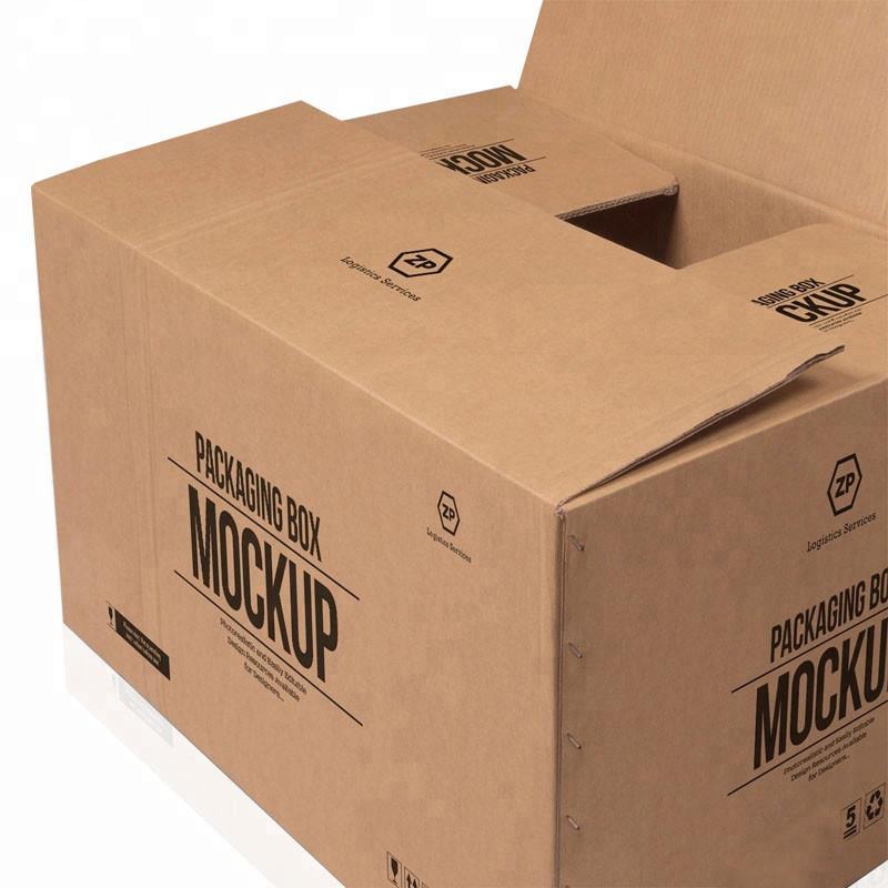 Heta försäljning anpassade stora 5 lager logotyp märkestryckt kraftpapper frakt leverans stor kartong