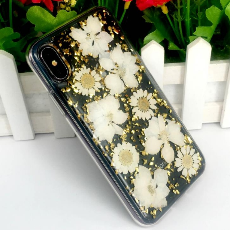 Tillverkarens direkta iPhone med guldfolie droppe lim äkta blommatorkade blommor präglade TPU äpple genomskinligt splittringsfodral