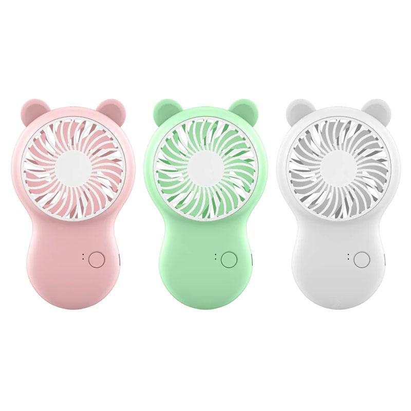 Mini Cooling Air Hand Held Fan Travel Power USB Uppladdningsbart Batteri Skrivbord Drivs med telefonhållare för utomhus - Rosa